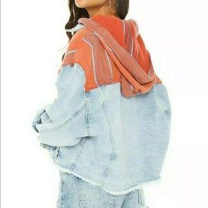 Free People denim jacket hooded Baja M $168